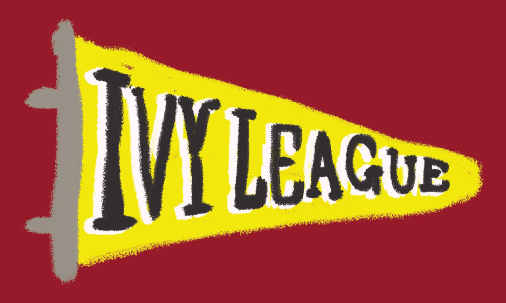 In this illustration, a yellow pennant flag with 'Ivy League' written on it, set against a deep red background.