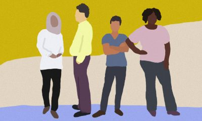 people of different races stand against a coloured background