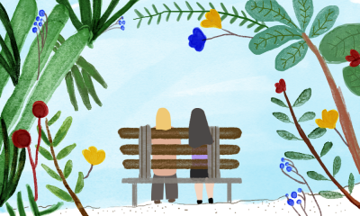 An illustration of two people sitting on a park bench, facing away from the viewer.