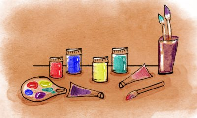 Art therapy with paint and crayons helps tackle stress