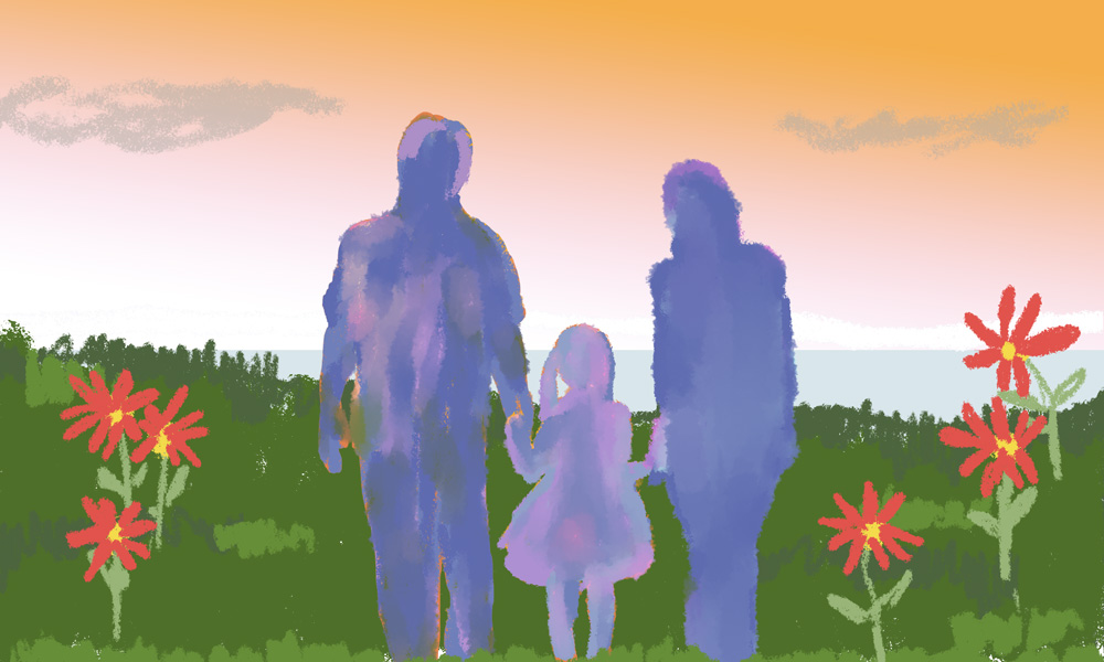 An illustration of a family, represented by silhouettes, holding hands with flowers around them.