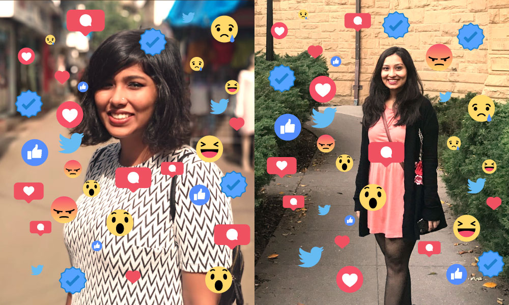 A collage of various social media emoticons such as thumbs-up, angry face against a blue background.