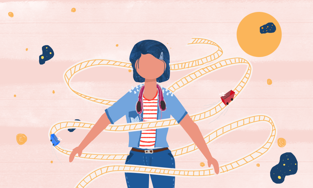 This is a minimalist illustration of a girl on a roller coaster ride in a single carriage. Her hair is thrown back by the wind as her carriage hurtles down the track.