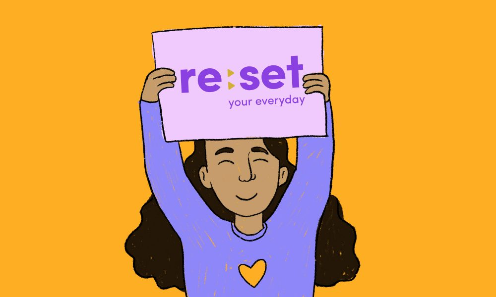 a girl holding up a sign with the purple Re:Set logo and tagline against a orange background.