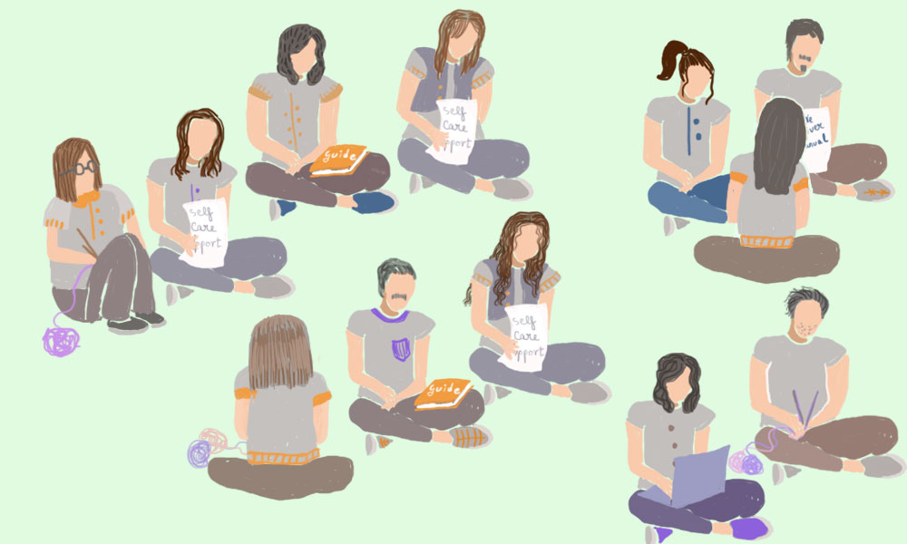 In this illustration, many individuals are sitting either in pairs or groups of 3-4 individuals.