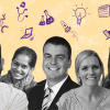 A collage of teachers with a backdrop representing innovation