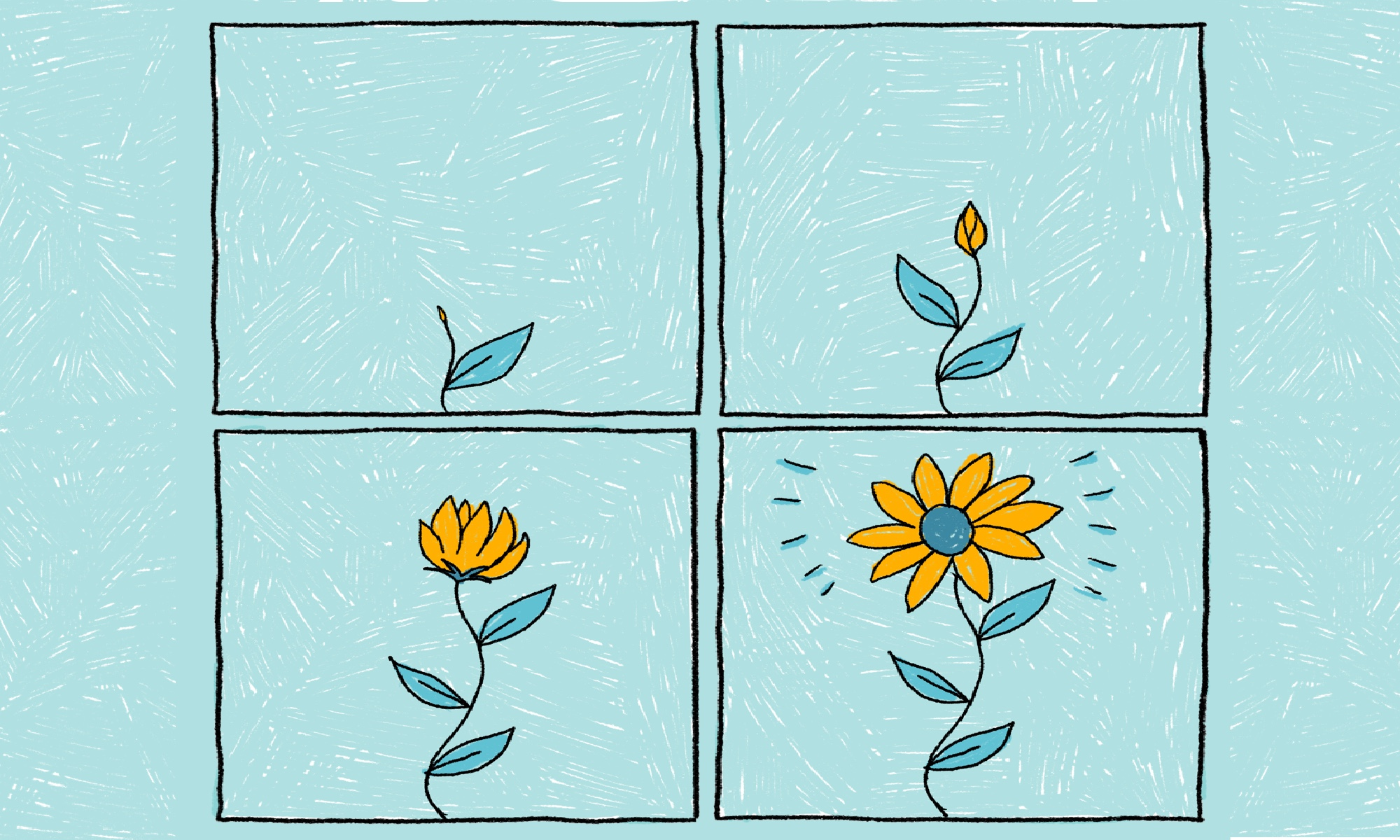 This is an illustration of a sunflower that slowly blooms, a metaphor that reflects the after-effects of self-care