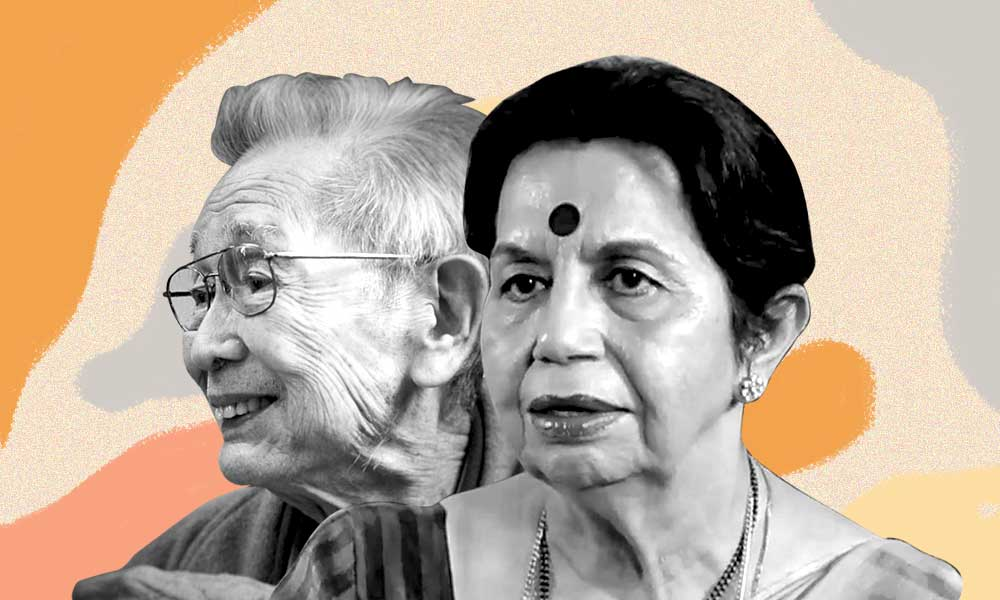 A collage of Eddie Sakai and Sushma Chawla, connected by their experiences with Alzheimer's