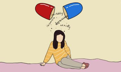 A girl in a yellow shirt sitting on the floor, above her a medicine capsule opens up with the words: depression, anxiety, irritability and insomnia.