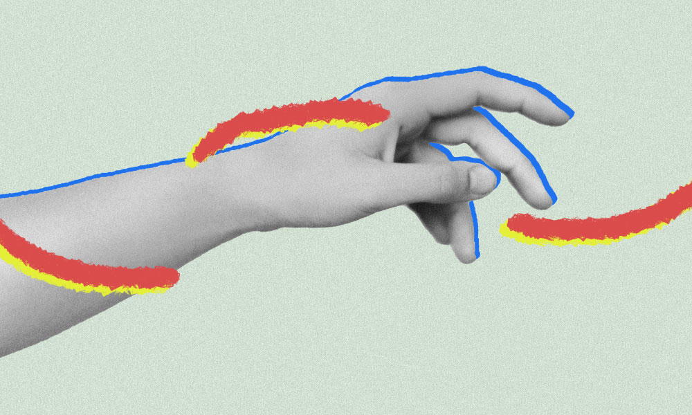 a hand reaching out with red and yellow lines of illustrations around it depicting touch