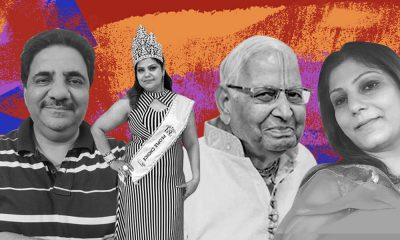 Close-up of four Indian elders in black and white. The second person from the left is a woman, wearing a tiara and a sash, reading, 'People's choice'.