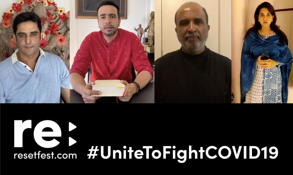 Images of Kalikesh Singh Deo, Sanjay Jha , Jayant Chaudhary and Shaina NC with a black banner below that reads resetfest.com, #UniteToFightCOVID19
