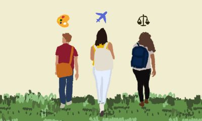 Three young adults with their backs to the screen, carrying backpacks with icons of art, law and aviation above their heads.