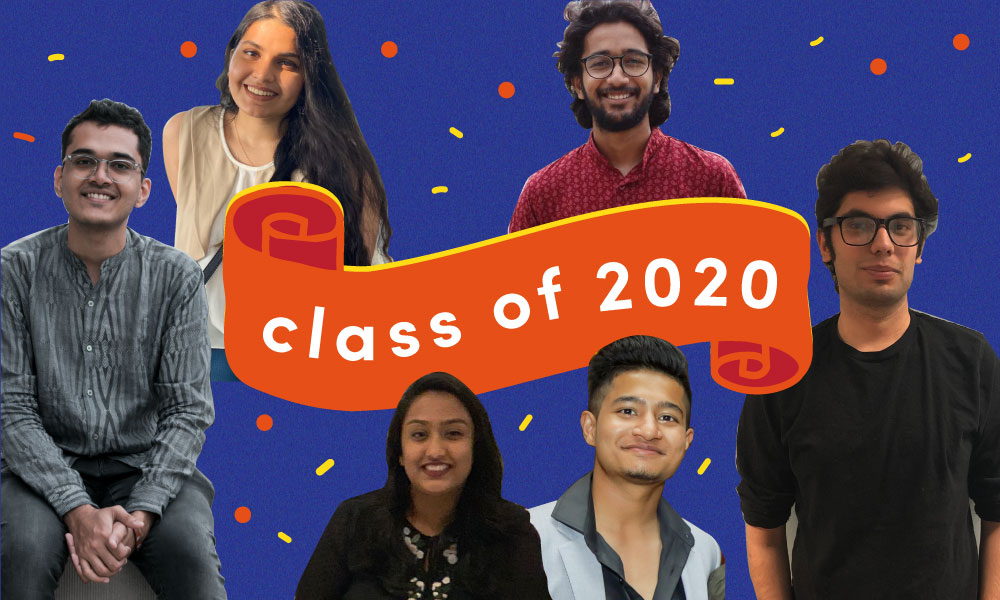 "A collage of different seniors who are graduating in 2020 on a blue backdrop with the words ""class of 2020"" written in the middle."