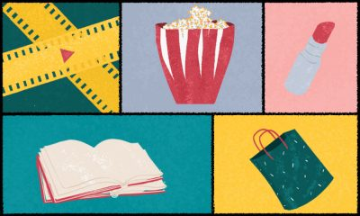 Illustration of a film reel, popcorn, lipstick, book and a shopping bag.