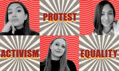 Collage of three women's images and the words activism, protest and equality