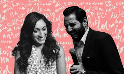 a collage of comedians Priyanka Wali and Hasem El Garhy laughing with a pink background that has the worlds LOL, HAHA, ROFL written behind