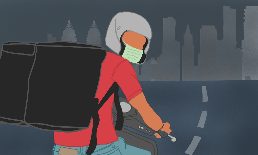 A delivery man on a bike. The man's wearing a face mask, accompanied by a red t-shirt and a giant black bag. He's driving ahead to a dark horizon, but is looking back in the illustration.