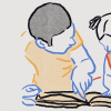 an illustration of a father explaining something to his daughter as they look at a book.