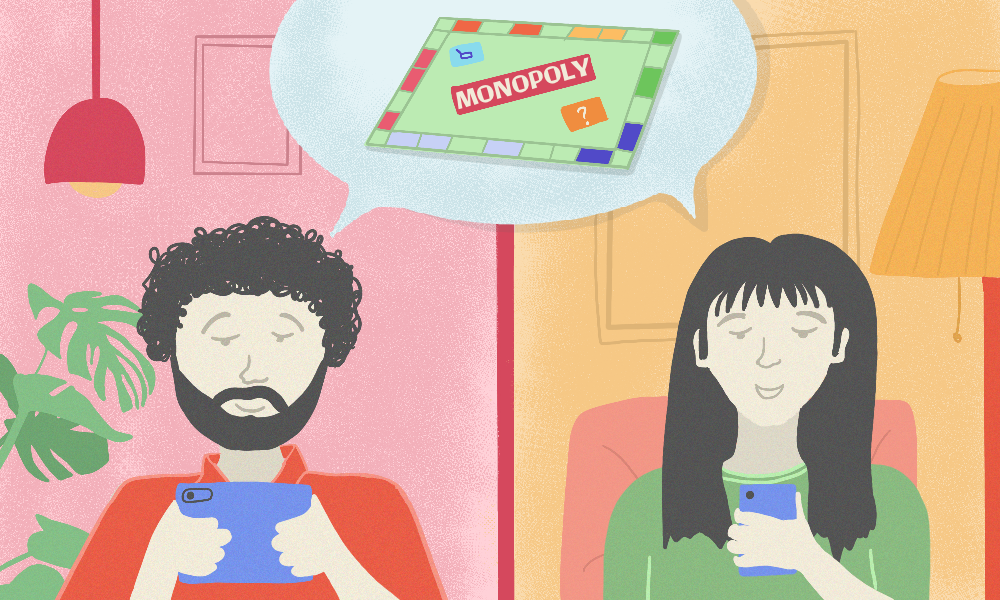 The illustration is divided into two parts vertically. One one side is a man in a red t-shirt on his tablet playing the game of monopoly with a female in the other half of the illustration who is playing the same game through her smartphone.