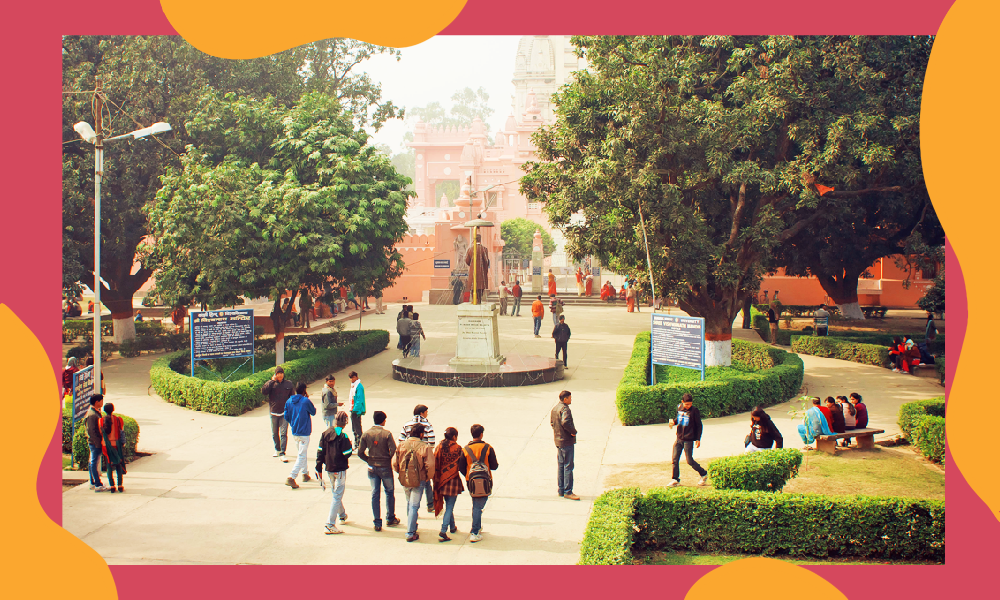 A wide shot of a university campus. there are trees on each side of the frame, with students walking between towards a building.