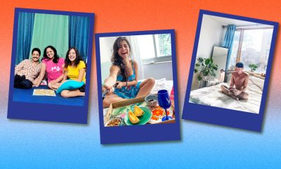Three blue-bordered postcards against an orange border which bleeds in to a powder blue in the lower half of the illustration. The postcard on the top left is the image of a happy Indian family, the one to it's right is an American Caucasian male sitting alone in his bedroom. and the one on the bottom is of an Indian woman using a selfie stick as she has breakfast in bed.