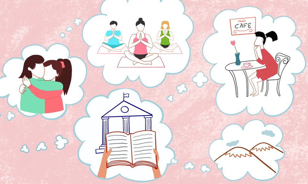 5 thought bubbles on a pink background. The thought bubbles consist illustrations of (i) two girls hugging (iii) three people doing yoga (iii) a university with a textbook (iv) a girl sitting in a cafe (v) mountains