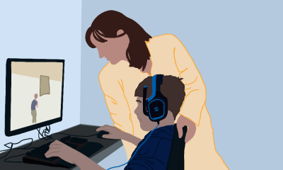 Illustration of a parent supporting their kid as they sit on a PC and game. The kid has headsets on and is engrossed, and his mother has a hand on his chair, and leans in to check his progress.