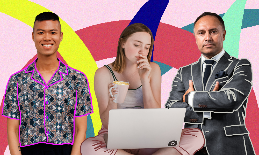 A patterned background with a man in a patterned shirt, a girl working on her laptop in her pajamas and a man in a suit.