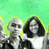 Sahiti Kunchay, Jo, Alison Dotson and Vaishnavi Suresh on a neon green background