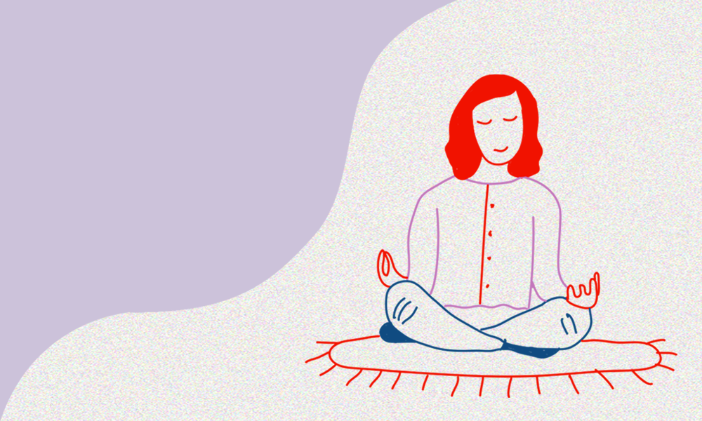 Illustration of a young student practicing yoga on a mat.