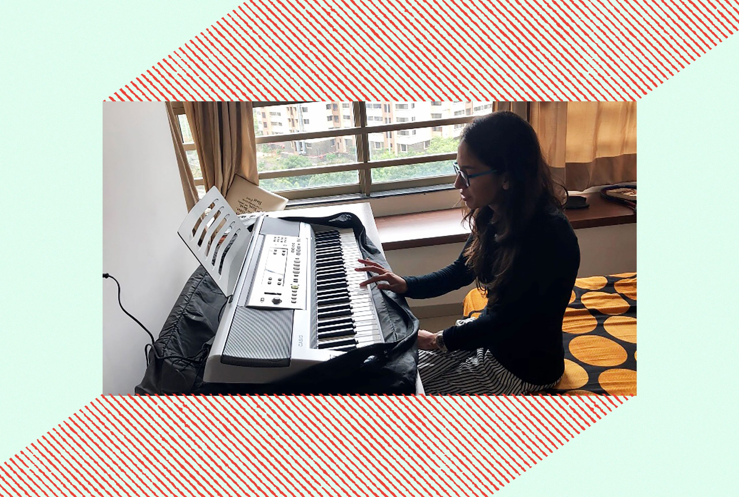 an image of the author playing piano