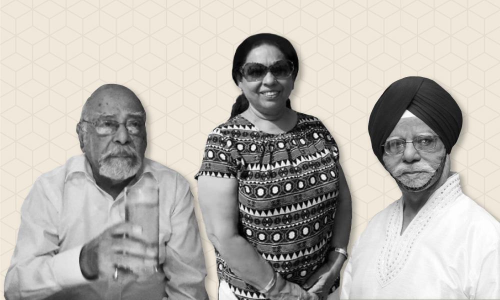 Illustration containing three black and white images of two Indian senior men and one woman.