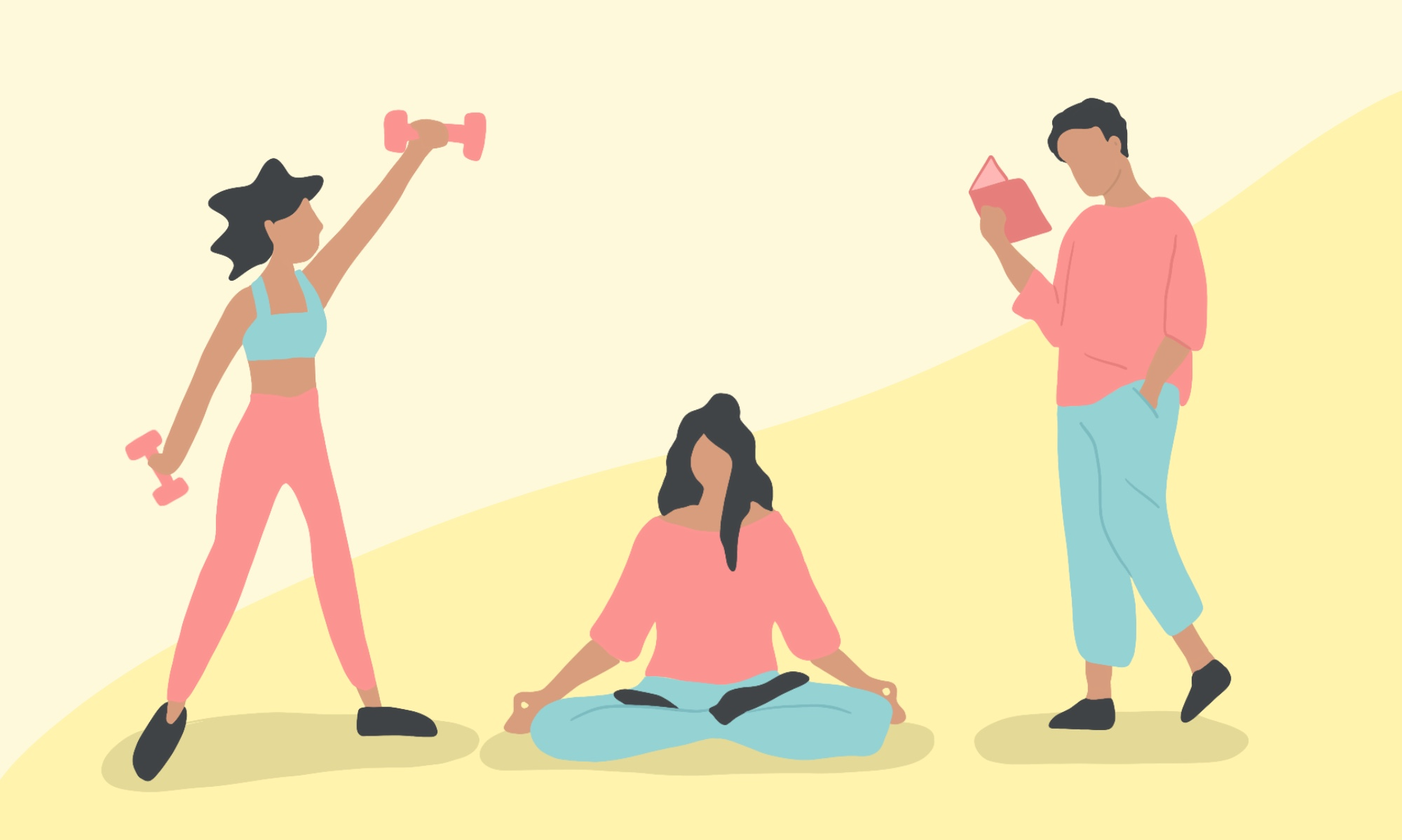 3 illustrations on a patterned background of a girl holding dumbbells, a girl sitting and meditating, a man standing and reading.