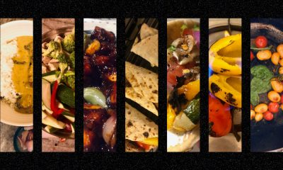 The image is divided into seven panels horizontally, each displaying cooked meals.