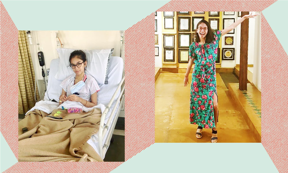 an image of the author in the hospital and outside juxtaposed together