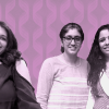An Image of three middle-Indian women smiling against a fuschia illustrated background.