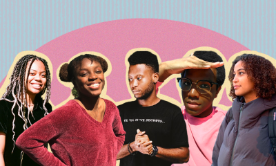 Allison Scott, Erykah Iman Brown, David Prah-Annan, Khallil Anderson, and Ruth Tay against a blue and pink background.
