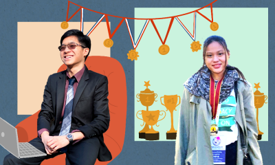 Jacob De Jesus and Theresa Enrica L. Limgenco in front of a blue, grey and orange background surrounded by medals and trophies