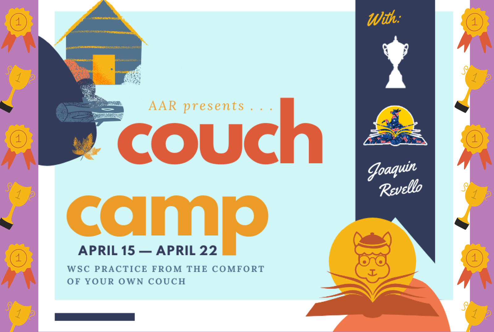 Couch Camp promotional banner surrounded by medals on a purple background