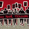 "Illustration of teachers marching for their pay. The teachers drawn in black, and have a banner in the front saying, ""Pay your teachers"" in red against a black background."