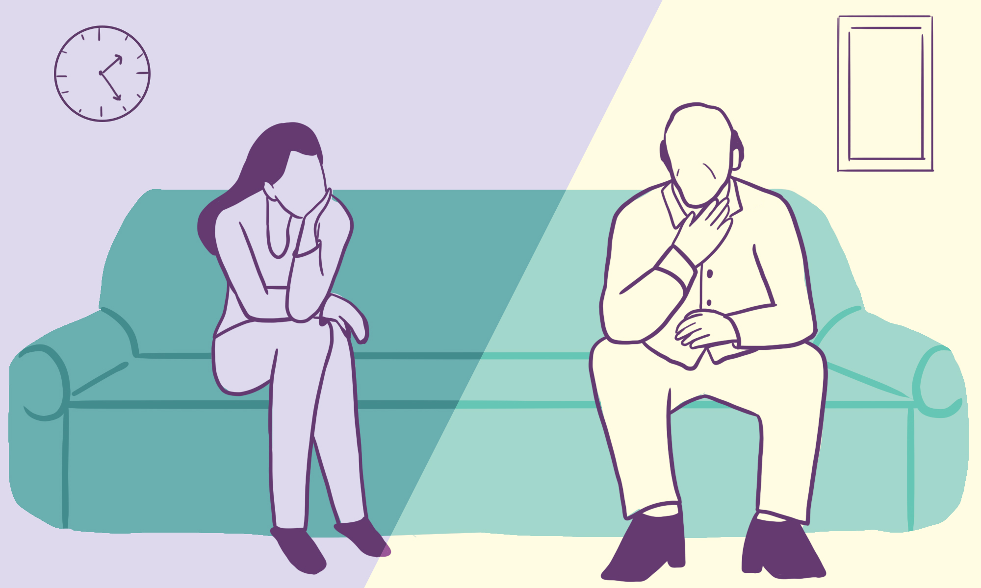 Illustration of a daughter and father on a therapist's couch