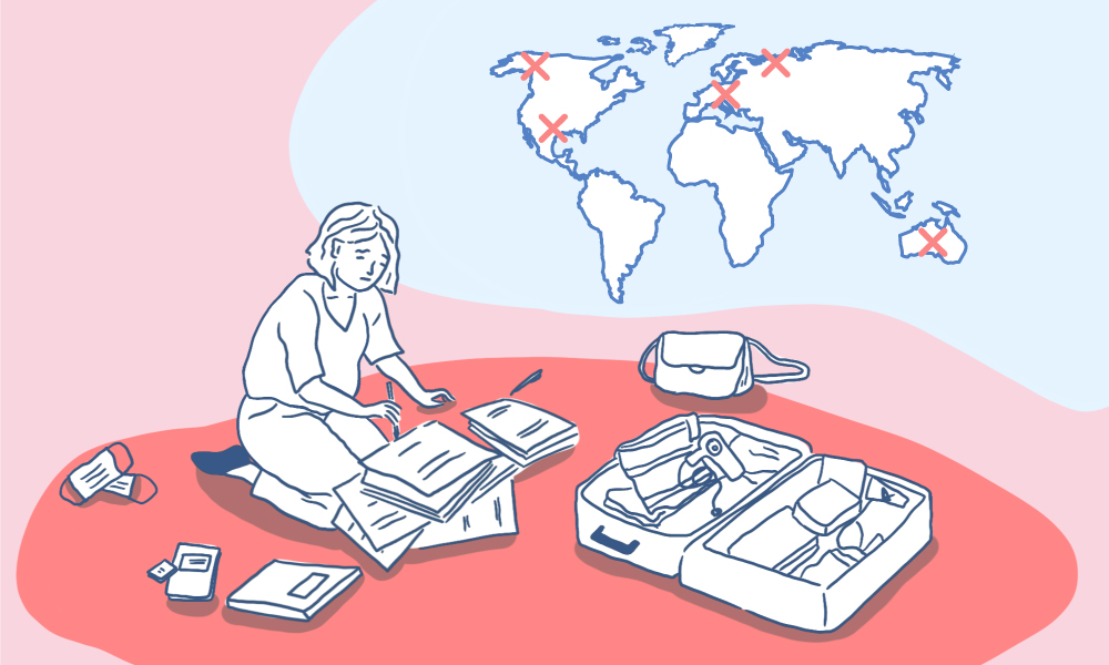 an illustration of a girl going through paperwork with a suitcase and other items scattered. a map of the world with covid hotspots behind her