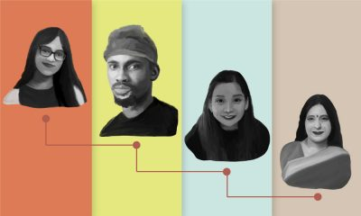A collage of Mahak Agrawal, Tomi Wale, Manie Lo and Jasmine Mehta with a colourful background and a line depicting the succession of age.