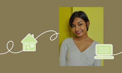 An image of college student Mayra Vinod with icons of a house and a computer