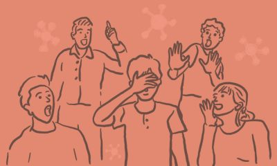 """An illustration four people surrounding one person called, """"Kovid"""" and mocking them as their names rhymes with COVID-19."""