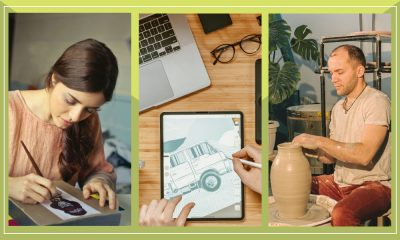 Images of a woman painting, a person designing on a tab and a man doing pottery.
