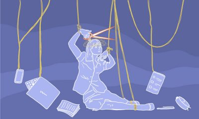 Illustration of a young women in advertising cutting off the strings that control her life.