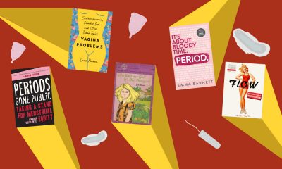 A background with icons of tampons, menstrual pads and cups along with various book cover of books that focus on menstruation