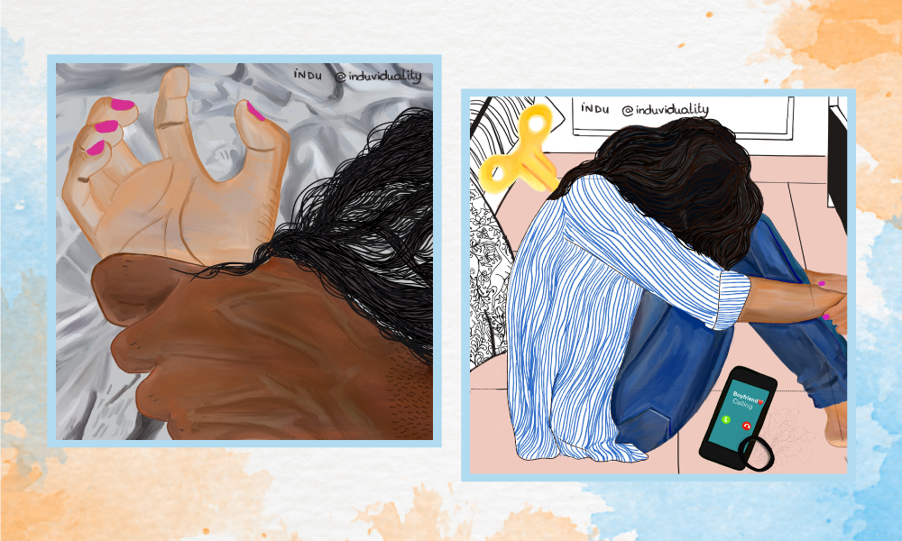 Illustrations by Indu Harikumar documenting virtual gender-based violence